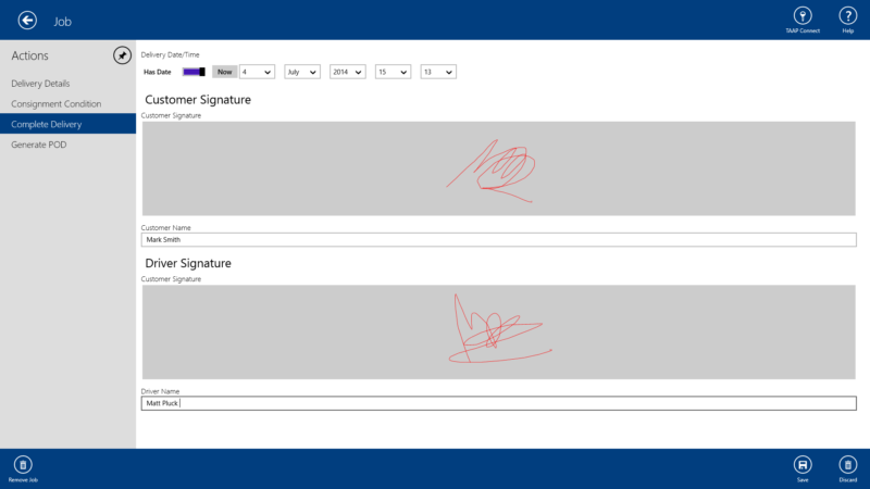 TAAP Proof of Delivery Signatures